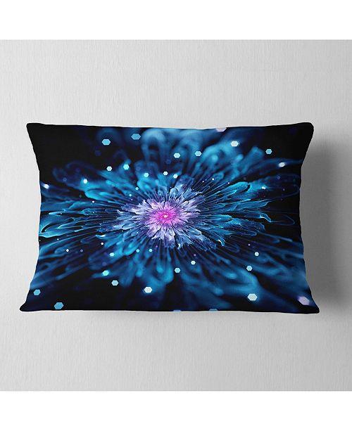 "Design Art Designart Blue Fractal Flower With Shiny Particles Flower Throw Pillow - 12"" X 20"""