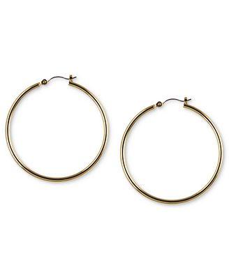 Nine West Earrings Gold Tone Tube Hoop Earrings Jewelry