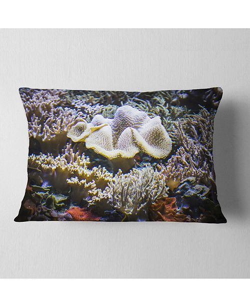 "Design Art Designart Beautiful Seabed With Fish Landscape Printed Throw Pillow - 12"" X 20"""