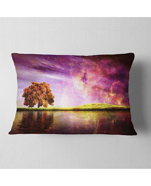 "Design Art Designart Magic Night With Colorful Clouds Landscape Printed Throw Pillow - 12"" X 20"""