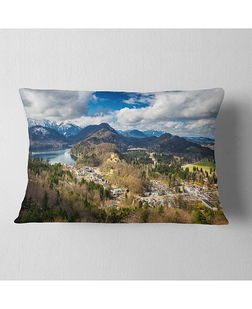 """Design Art Designart Alps And Lakes On Summer Day Landscape Printed Throw Pillow - 12"""" X 20"""""""