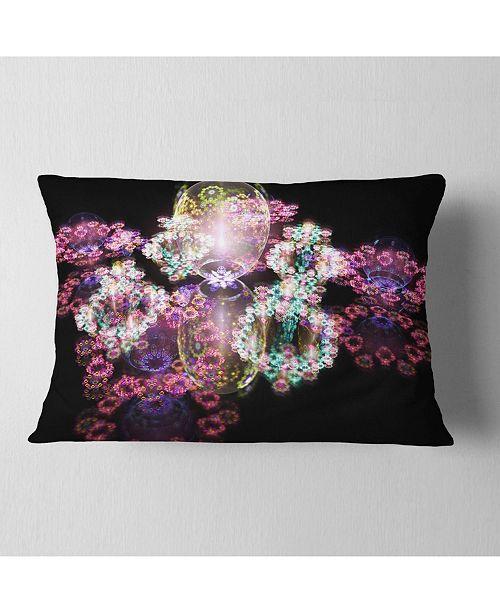 "Design Art Designart Pink Water Drops On Mirror Abstract Throw Pillow - 12"" X 20"""