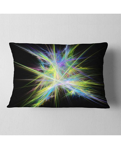 """Design Art Designart Yellow Blue Chaos Multicolored Rays Abstract Throw Pillow - 12"""" X 20"""""""