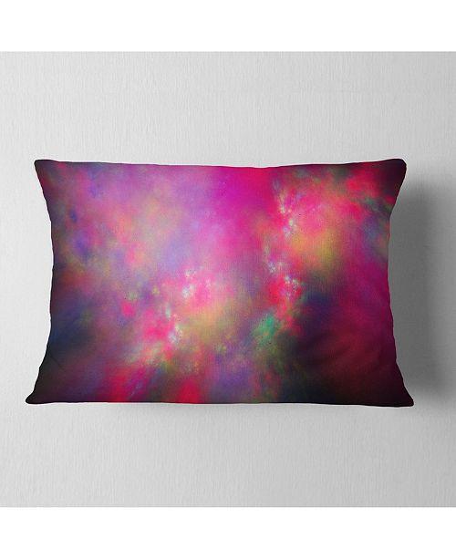 "Design Art Designart Perfect Red Starry Sky Abstract Throw Pillow - 12"" X 20"""