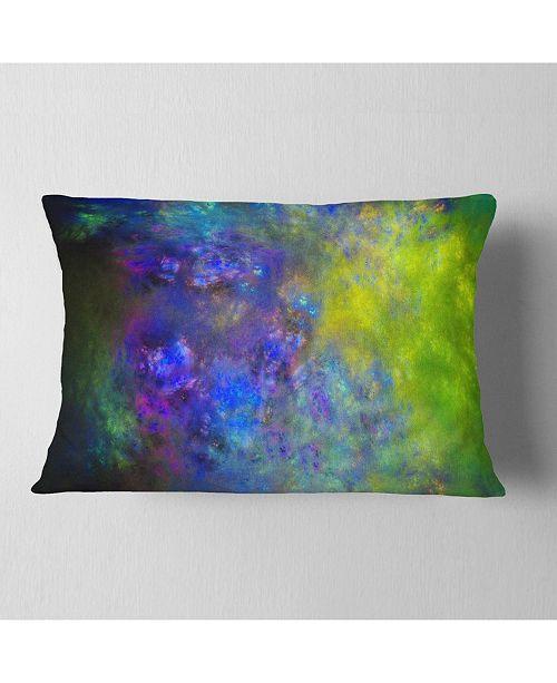 """Design Art Designart Blue Green Starry Fractal Sky Abstract Throw Pillow - 12"""" X 20"""""""