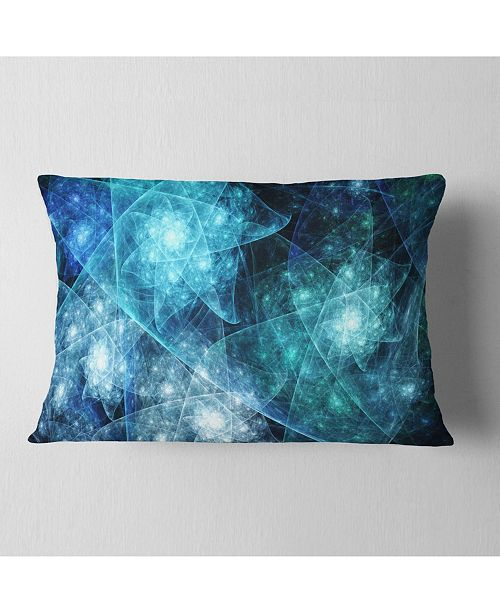 "Design Art Designart Blue Rotating Polyhedron Abstract Throw Pillow - 12"" X 20"""
