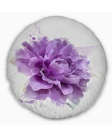 "Designart Purple Rose Watercolor Illustration Floral Throw Pillow - 16"" Round"