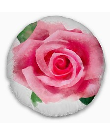 """Designart Big Pink Rose Flower With Leaves Floral Throw Pillow - 16"""" Round"""