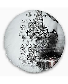 """Designart Woman And Beauty Of Nature Landscape Printed Throw Pillow - 16"""" Round"""