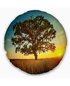 "Designart Big Green Tree In Summer Field Trees Throw Pillow - 16"" Round"