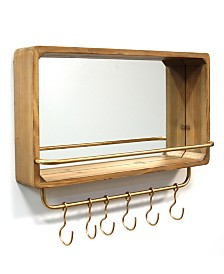 Stratton Home Decor Madison Mirror with Shelf Hooks