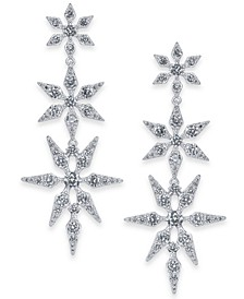 Silver-Tone Crystal Snowflake Large Drop Earrings, Created For Macy's