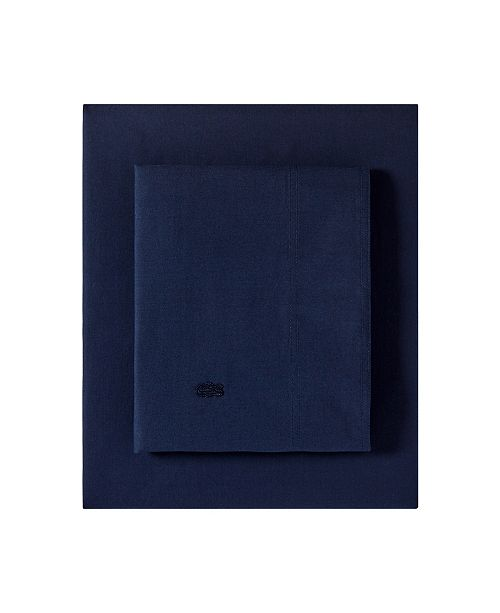 Lacoste Home Lacoste Washed Percale Solid Queen Sheet Set