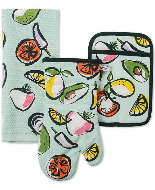 kate spade new york 3-Pc. Chop Chop Kitchen Towel, Oven Mitt & Pot Holder Set