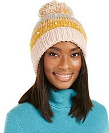 Fair Isle Faux-Pearl Cuff Hat With Pom