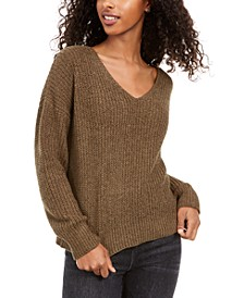 Juniors' Chenille V-Neck Sweater