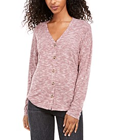 Juniors' Cozy Button-Front Top