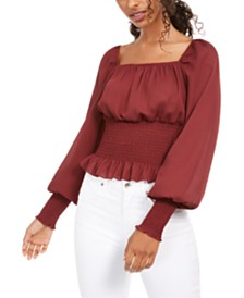Ultra Flirt Juniors' Smocked-Waist Peasant Top