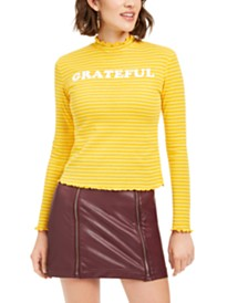 Love Tribe Juniors' Grateful Mock-Neck Top