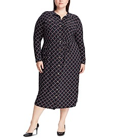 Plus Size Geometric-Print Buttoned Jersey Shirtdress