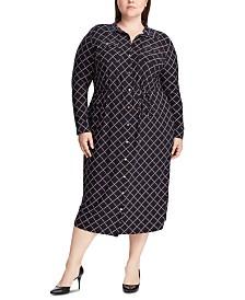 Lauren Ralph Lauren Plus Size Geometric-Print Buttoned Jersey Shirtdress
