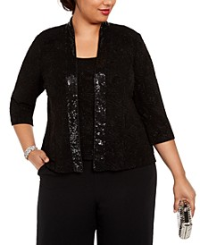 Plus Size Sequin Twinset