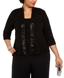 Alex Evenings Plus Size Sequin Twinset