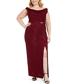 Plus Size Embellished Column Gown