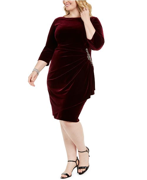 Alex Evenings Plus Size Ruched Velvet Dress