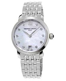 Women's Swiss Slimline Diamond (1/20 ct. t.w.) Stainless Steel Bracelet Watch 30mm
