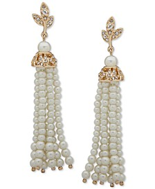 Gold-Tone Pavé Filigree & Imitation Pearl Tassel Linear Drop Earrings