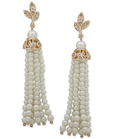 Anne Klein Gold-Tone Pavé Filigree & Imitation Pearl Tassel Linear Drop Earrings
