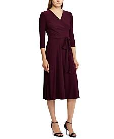 Lauren Ralph Lauren 3/4-Sleeve Belted Jersey Midi Dress