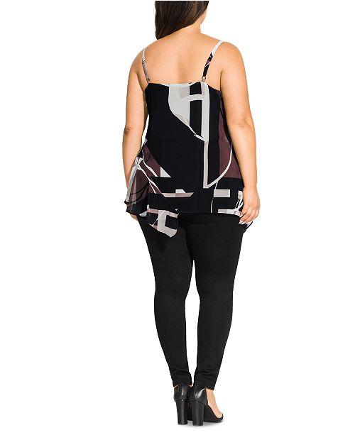 City Chic Trendy Plus Size Sahara Printed Asymmetrical Top