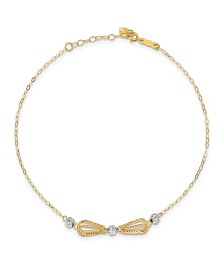 Teardrop Cage Anklet in 14k Yellow and White Gold