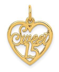 Sweet 15 Charm in 15k Yellow Gold