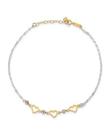 Heart and Bead Anklet in 14k Yellow and White Gold