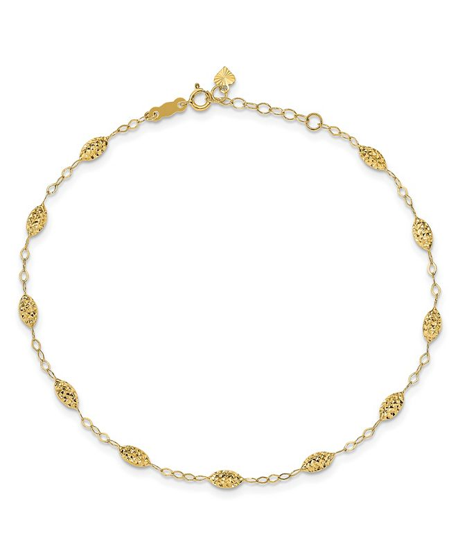 Macy's Rice Bead Anklet in 14k Yellow Gold