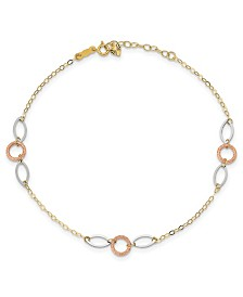 Circle and Oval Anklet in 14k Rose, White and Yellow Gold