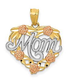 Mom Heart Pendant in 14k Yellow, Rose Gold and Rhodium