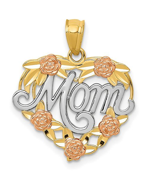 Macy's Mom Heart Pendant in 14k Yellow, Rose Gold and Rhodium