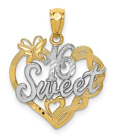Sweet 16 Pendant in 14k Yellow Gold and Rhodium