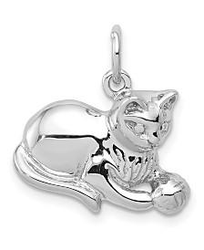 Cat Charm 14k White Gold