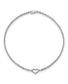 Heart Rope Anklet in 14k White Gold