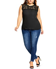 City Chic Trendy Plus Size Lace Angel Top