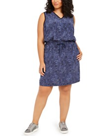Ideology Plus Size Animal-Print Drawstring Dress, Created For Macy's