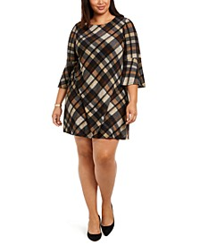Plus Size Plaid Bell-Sleeve Shift Dress