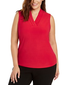 Anne Klein Plus Size V-Neck Top