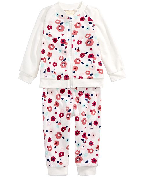 First Impressions Baby Girls 2-Pc. Floral-Print Jacket & Jogger Pants Set, Created For Macy's