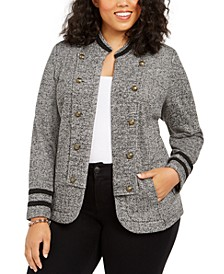 Plus Size Double-Breasted Open-Front Jacket